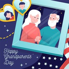 National Grandparents Day, Happy Grandparents Day, Vector Free, How To Draw Hands, Concept, Stock Photos, Illustration, Fictional Characters, Art