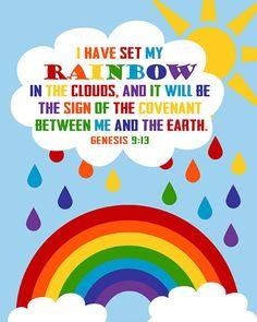 Genesis God's Rainbow. God's Promise. Bible Verse can print big sizesGenesis God's Rainbow.