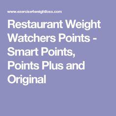 Restaurant Weight Watchers Points - Smart Points, Points Plus and Original