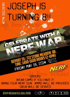 Customized Nerf Party Invitation by CraftBoxStudio on Etsy Nerf Birthday Party, Nerf Party, Birthday Party Invitations, Boy Birthday, Birthday Ideas, Holidays And Events, Party Planning, Party Time, Nerf Games
