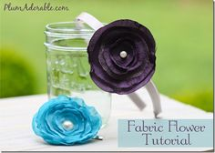 Painted Mason Jars & Fabric Flower Tutorial {headbands, hair clips, the sky is the limit. they're so easy and elegant! Making Fabric Flowers, Fabric Flower Headbands, Flower Making, Girl Headbands, Bow Making, Diy Hair Clips And Bows, Hair Bows, Ribbon Hair, Handmade Flowers