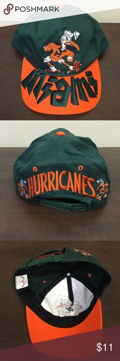 NWOT University of Miami Hurricanes Hat Adjustable in the back. Great hat with retro Sebastian the Ibis logo. Go canes! Feel free to bundle and make an offer! Accessories Hats