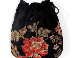 Mandarino ciniglia fiore borsa del velluto nero con Renaissance borsa tasca borsa borsetta a tracolla
