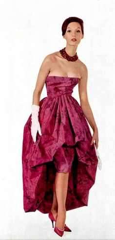 1960 silk print evening gown by (YSL) Christian Dior 60s vintage fashion couture pink red floral dress unique style designer bubble hem asymmetrical strapless