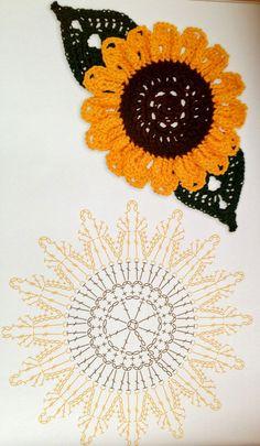 sunflower crochet idea. ﻬஐCQஐﻬ crochet spring crochetflowers flowers