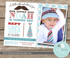 LITTLE MAN Mustache Bash Tie  Invitation for your little mister or baby shower or birthday