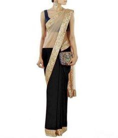 Janasya Exclusive Black Colour Half Half Sari With Velvet Blouse Piece Saree Ethnic Wear