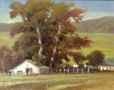 """Day on the Ranch"" Paula Frizbe 24"" x 30"" Oil #ranch #farm #rural #farmhouse #country #art #artwork #paint #painting #oil #fineart #oilpainting #green #paulafrizbe #braziergallery"
