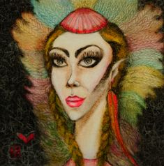 Oil Pastel Paintings, Small Paintings, Original Paintings, Original Art, Female Portrait, Woman Portrait, Woman Painting, Headdress, Art Oil