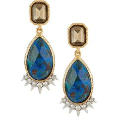 Alexis Bittar Crystal Studded Spur Trimmed Double Stone Drop Earrings ($90) ❤ liked on Polyvore featuring jewelry, earrings, no color, 18 karat gold stud earrings, 18k earrings, alexis bittar jewelry, bezel set earrings and rectangle earrings