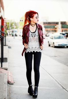 luanna Perez maroon leather jacket, black leggings pants, brown wedge boots, white crochet top