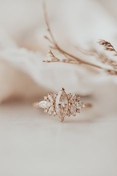 Marquise Champagne Diamond with Marquise and Round Fancy Side Diamond Ring Yellow Gold Ring Dream Engagement Rings, Wedding Engagement, Unique Solitaire Engagement Ring, Different Engagement Rings, Gemstone Engagement Rings, Engagement Couple, Vintage Engagement Rings, Pretty Rings, Pretty Wedding Rings