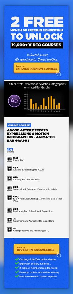 Adobe After Effects Expressions & Motion Infographics - Animated Bar Graphs  Design, Animation, Motion Graphics, Adobe After Effects, Graphic Design, Video Editing, Creative #onlinecourses #CoursesWebsite #onlinetrainingdesign   This is a unique course about Expressions while building animated infographics. The focus of the animations is based onBar Graph– with different methods to create anim...