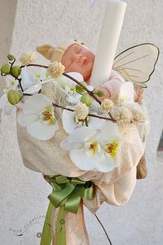 Diy Flowers, Flower Diy, Anne Geddes, Girl Christening, Baby Party, Scented Candles, Candle Holders, Shabby Chic, Arts And Crafts