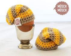 Gelb-beiger Beanie Eierwärmer von Müsch-Müsch!