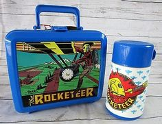 Disney Aladdin The Rocketeer 1991 Movie Plastic Lunch Box w Thermos Bottle NWT
