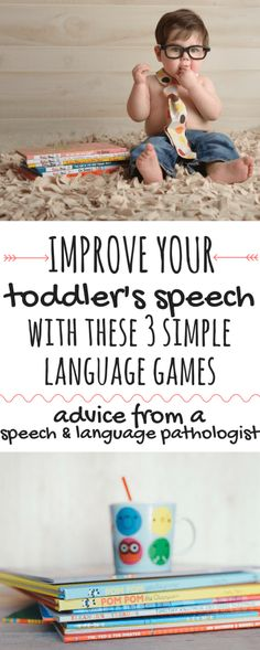 Use these 3 simple language games to improve your child's language development. Th … Use these 3 simple language games to boost your toddler's speech development. These speech activities are based on the research in phonemic awareness and can have a huge Language Activities, Literacy Activities, Infant Activities, 18 Month Old Activities, Therapy Activities, Toddler Fun, Toddler Preschool, Toddler Games, Toddler Stuff
