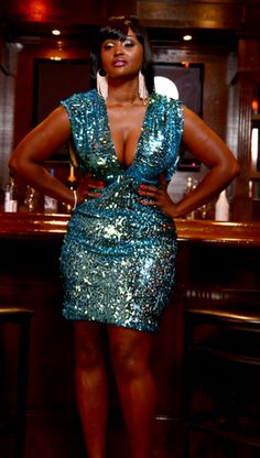 Shop Kami Shade' - Turquoise Silver Gold Plus Size Deep V Glitter Sequin Dress, $184.00 (http://www.kamishade.com/haute-plus-size-dresses-more/turquoise-silver-gold-plus-size-deep-v-glitter-sequin-dress/)
