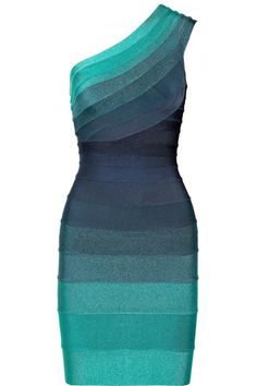 Teal, blue and navy ombré bandage Internal boning at one side Concealed hook and zip fastening along back 90% rayon, 9% nylon, 1% spandex Dry clean