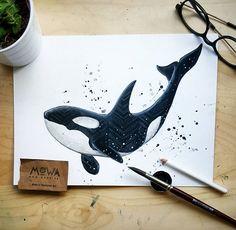 Deep sea baby. ⚪♥⚪ Original for sale.  #illustration #orca #watercolor #whale…