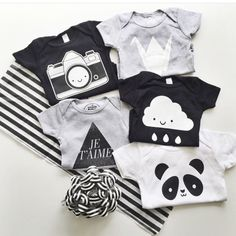 whistle & flute | bodysuits; kawaii camera, paper crane, je'taime, kawaii cloud, kawaii panda