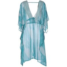 d997c14b7be8ff Silvian Heach Kaftan ($33) ❤ liked on Polyvore featuring tops, tunics,  turquoise, v-neck tops, lace v neck top, kaftan tunic, blue tunic and blue  short ...