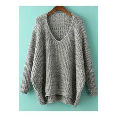 SheIn(sheinside) Grey V Neck Batwing Sleeve Dip Hem Oversized Sweater ($24) ❤ liked on Polyvore featuring tops, sweaters, grey, oversize sweater, loose sweaters, v neck sweater, pullover sweaters and gray sweater