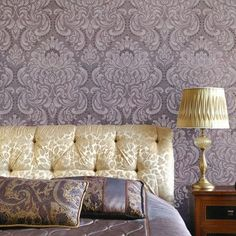 Romantic look of expensive wallpaper at a fraction of the cost. Allover Florentine Damask wall stencil does the trick!
