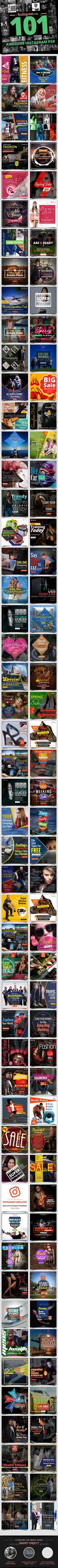101 - Instagram Banners Templates PSD. Download here: https://graphicriver.net/item/101-instagram-banners/17253849?ref=ksioks
