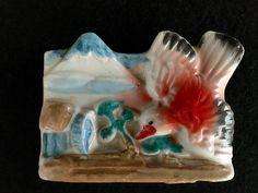 Vintage Tiny Bird Mountains Wall Pocket Japan Ceramic Vase Painted Orange Blue
