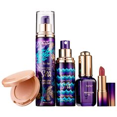 Radiance Ritual Travel Set - tarte | $32  - 1.7 oz/ 50 mL Rainforest of the Sea Deep Dive Cleansing Gel  - 1.104 oz/ 30 mL Rainforest of the Sea Marine Boosting Mist  - 0.035 oz/ 1 g Rainforest of the Sea Drench Lip Splash Lipstick in Cabana Boy  - 0.5 oz/ 15 mL Maracuja Oil  - 0.05 oz/ 1.5 g Amazonian Clay 12-hour Highlighter in Exposed