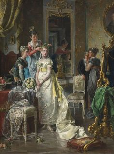 "cimmerianweathers: "" Dressing the Bride, Carl Herpfer, 19th century. Oil on canvas. "":"