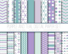 Modern Digital Paper, Purple and Teal, Lavender and Teal, Geometric Patterns, Digital Background, Scrapbook Paper, Web Design, Card Design