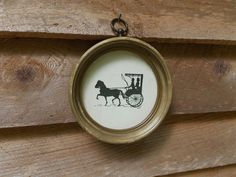 Vintage Horse and Carriage Silhouette in Round by AppalachianAttic