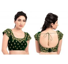 Green Micro Velvet Ready Made Stitched padded Blouse - Blouses - Saree,Blouse & more
