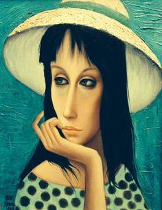 "Original Painting ""Pensive 1960"" by Margaret D. H. Keane (American: 1927)"