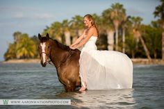 Trash the Dress session Horseback in Montego Bay, Jamaica at Half Moon Bay Resort. Photographs Copyright Aaron Watson Photography (please do not remove copyright when re-pinning)