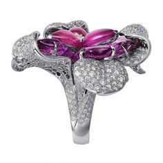 Ring from the Sortilège collection in white gold, pink and purple sapphires, brilliant-cut diamonds by Cartier