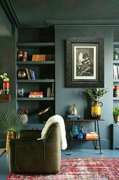 New Living Room Green Walls Interior Design Apartment Therapy Ideas Dark Living Rooms, Living Room Green, Living Room Paint, New Living Room, Living Room Decor, Green Living Room Walls, Bedroom Green, Tiny Living, Bedroom Colors