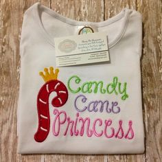 Candy Cane Princess shirt- perfect for December- Love the colors!