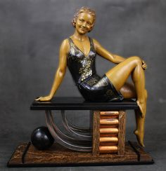 A superb Art Deco patinated and cold-painted  metal sculpture by Enrique Molins-Balleste, France circa 1930.