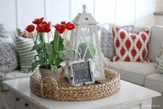 How to add pops of red to a room - Decorating with RED - LOVE these ideas! This is perfect for my living room redo. Now I can use things I already have on hand!