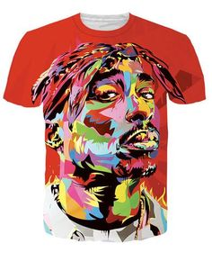 2017 Harajuku Summer Men women s T Shirt Print Tupac T Shirt Fashion Hiphop  Rock Punk Short Sleeve Shirts Large Size. John support · psychedelic rave  shirts 0a3c6da58d8