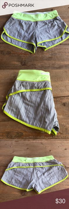 Lululemon Speed: short Lime green and grey lululemon shorts with zipper at back. Lightly worn and no flaws! lululemon athletica Pants Track Pants & Joggers