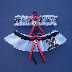 WWE Raw Wrestling Fabric Jewel Wedding Bridal Garter Set Double Heart Charm