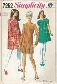 An original ca. 1967 Simplicity Pattern 7252.  Juniors' and Misses' Dress in Two Lengths: The collarless dress with lined yoke has high round neckline, set-in sleeves and back zipper. Versions one and two have long sleeves with top-stitched sleeve bands. Dress versions one and three are gathered to yoke. Regular length version one has yoke and sleeve bands cut on bias. Versions two and three are above knee-length. Top stitched. Version two has pleated front.