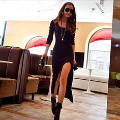 Vestido de mujeres Split caña alta – USD $ 13.99