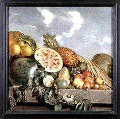 Natureza morta com abacaxi, melão e outras frutas tropicais, 1640s Albert Eckhout, Flandres (1610-1666) Óleo sobre tela, 90 x 90 cm...