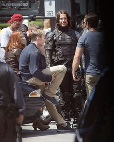 On set of Captain America: The Winter Soldier.