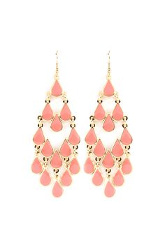 Blushing Lani Chandelier Earrings on Emma Stine Limited